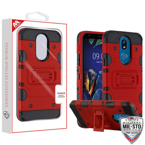 MyBat Storm Tank Hybrid Protector Cover [Military-Grade Certified] for Lg K40 - Red / Black