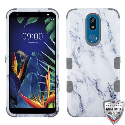 MyBat TUFF Hybrid Protector Cover [Military-Grade Certified] for Lg K40 - White Marbling / Iron Gray