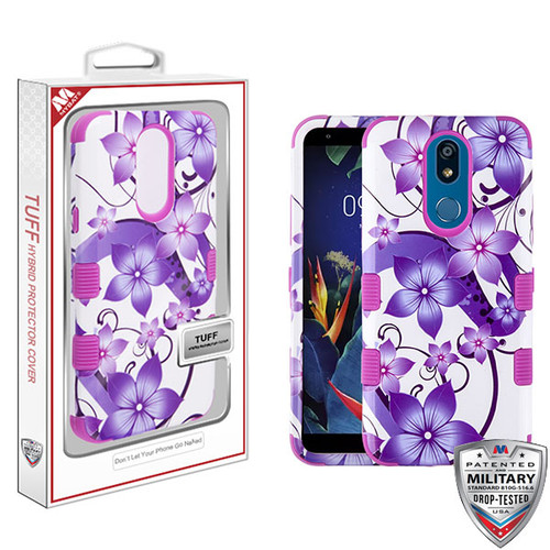 MyBat TUFF Hybrid Protector Cover [Military-Grade Certified] for Lg K40 - Purple Hibiscus Flower Romance / Electric Purple