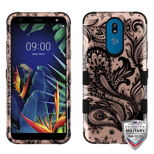 MyBat TUFF Hybrid Protector Cover [Military-Grade Certified] for Lg K40 - Phoenix Flower (2D Rose Gold) / Black
