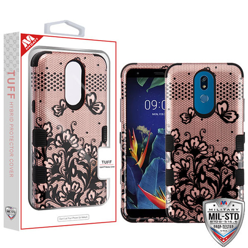 MyBat TUFF Hybrid Protector Cover [Military-Grade Certified] for Lg K40 - Black Lace Flowers (2D Rose Gold) / Black
