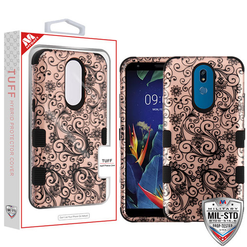 MyBat TUFF Hybrid Protector Cover [Military-Grade Certified] for Lg K40 - Black Four-Leaf Clover (2D Rose Gold) / Black