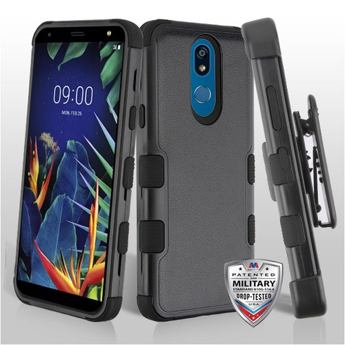 MyBat TUFF Hybrid Protector Case Combo [Military-Grade Certified](with Black Horizontal Holster) for Lg K40 - Natural Black / Black