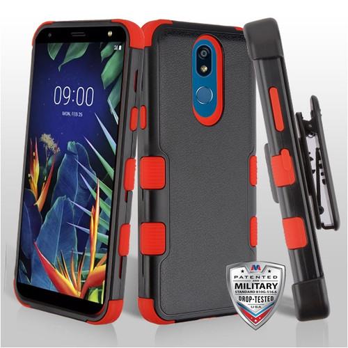 MyBat TUFF Hybrid Protector Case [Military-Grade Certified](with Black Horizontal Holster) for Lg K40 - Natural Black / Red
