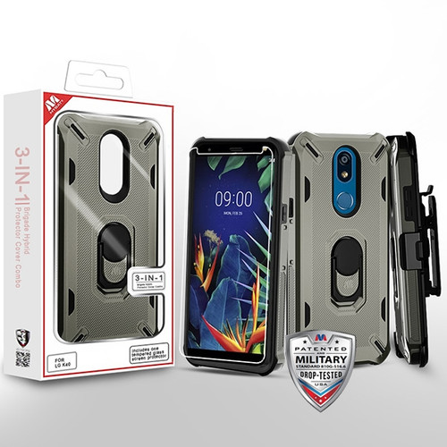 MyBat 3-in-1 Brigade Hybrid Protector Cover Combo (with Black Holster)(with Ring Stand)(Tempered Glass Screen Protector) for Lg K40 - Dark Grey / Black