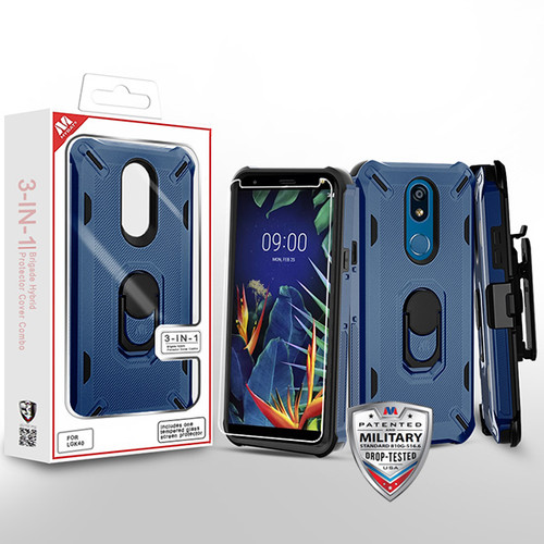 MyBat 3-in-1 Brigade Hybrid Protector Cover Combo (with Black Holster)(with Ring Stand)(Tempered Glass Screen Protector) for Lg K40 - Ink Blue / Black