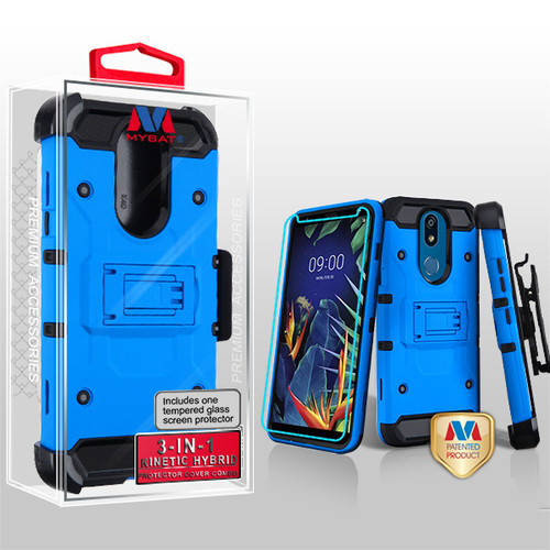 MyBat 3-in-1 Kinetic Hybrid Protector Cover Combo (with Black Holster)(Tempered Glass Screen Protector) for Lg K40 - Blue / Black