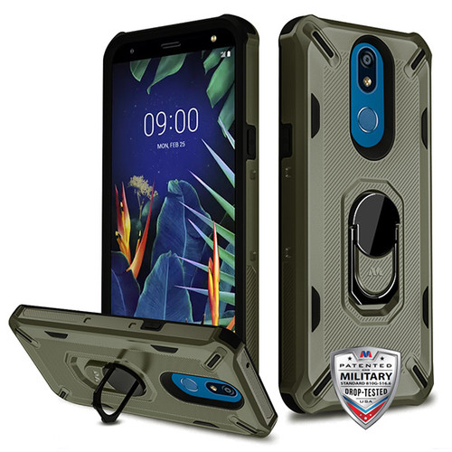 MyBat Brigade Hybrid Protector Cover (with Ring Stand) for Lg K40 - Dark Grey / Black