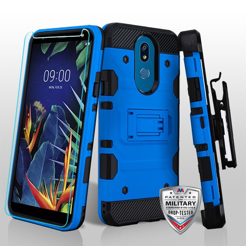 MyBat 3-in-1 Storm Tank Hybrid Protector Cover Combo (with Black Holster)(Tempered Glass Screen Protector)[Military-Grade Certified] for Lg K40 - Blue / Black