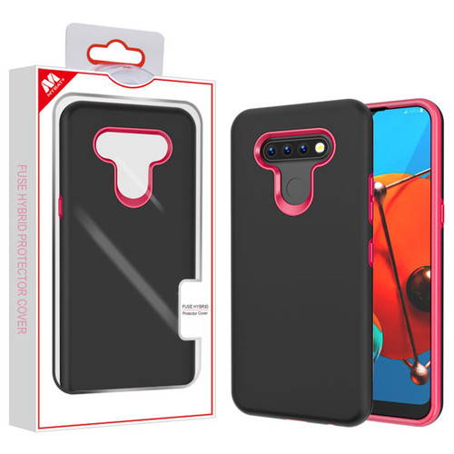 MyBat Fuse Hybrid Protector Cover for Lg K51 - Rubberized Black / Metallic Red