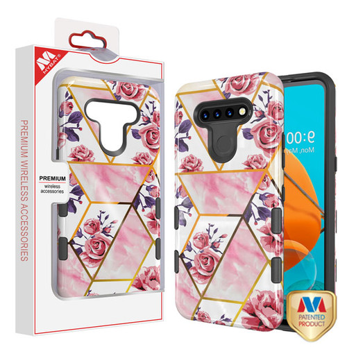 MyBat TUFF Subs Hybrid Case for Lg K51 - Roses Marble / Black