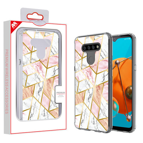 MyBat Fusion Protector Cover for Lg K51 - Electroplated Pink Marbling