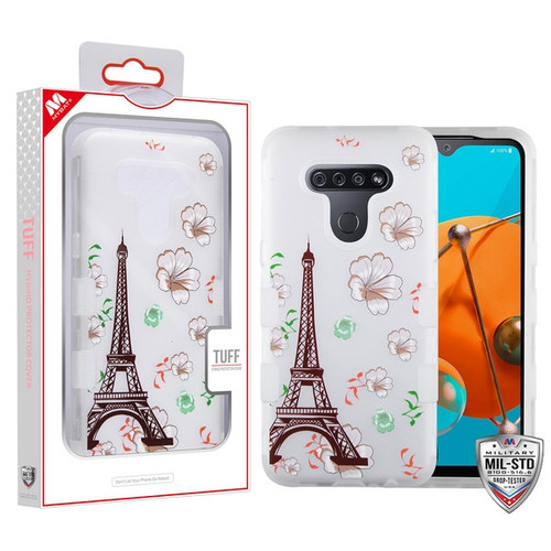 MyBat TUFF Hybrid Protector Cover [Military-Grade Certified] for Lg K51 - Semi Transparent White Frosted Eiffel Tower in the Season of Blooming / Transparent White