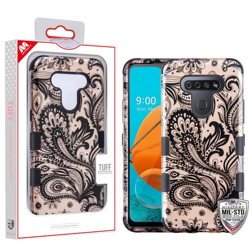 MyBat TUFF Hybrid Protector Cover [Military-Grade Certified] for Lg K51 - Phoenix Flower (2D Rose Gold) / Black
