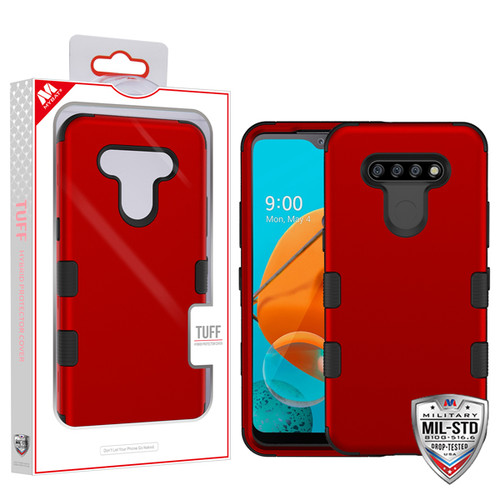 MyBat TUFF Hybrid Protector Cover [Military-Grade Certified] for Lg K51 - Titanium Red / Black