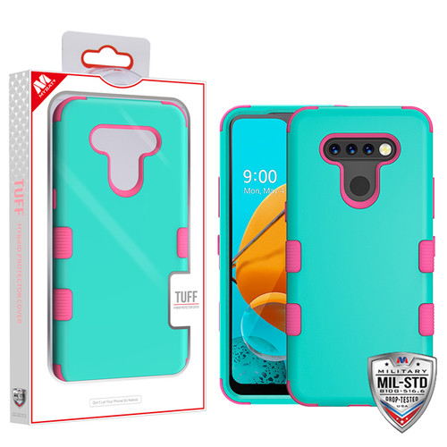 MyBat TUFF Hybrid Protector Cover [Military-Grade Certified] for Lg K51 - Rubberized Teal Green / Electric Pink