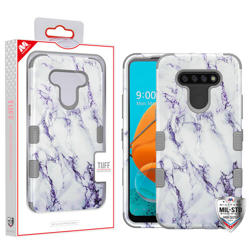 MyBat TUFF Hybrid Protector Cover [Military-Grade Certified] for Lg K51 - White Marbling / Iron Gray