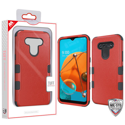 MyBat TUFF Hybrid Protector Cover [Military-Grade Certified] for Lg K51 - Natural Red / Black