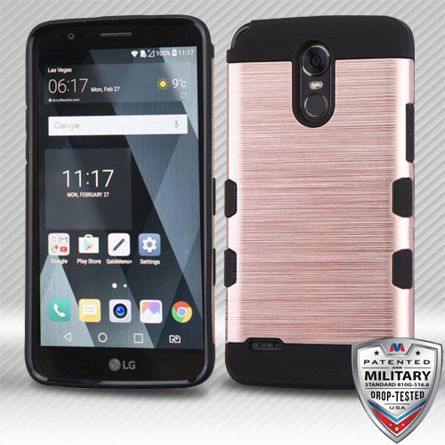 MyBat Brushed TUFF Trooper Hybrid Protector Cover [Military-Grade Certified] for Lg LS777 (Stylo 3) - Rose Gold / Black