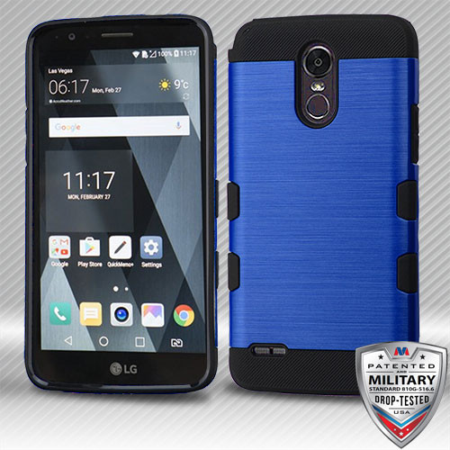 MyBat Brushed TUFF Trooper Hybrid Protector Cover [Military-Grade Certified] for Lg LS777 (Stylo 3) - Dark Blue / Black