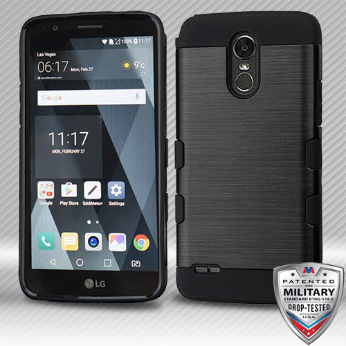 MyBat Brushed TUFF Trooper Hybrid Protector Cover [Military-Grade Certified] for Lg LS777 (Stylo 3) - Black / Black