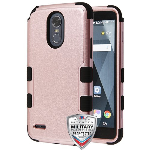 MyBat TUFF Hybrid Protector Cover [Military-Grade Certified] for Lg LS777 (Stylo 3) - Textured Rose Gold / Black