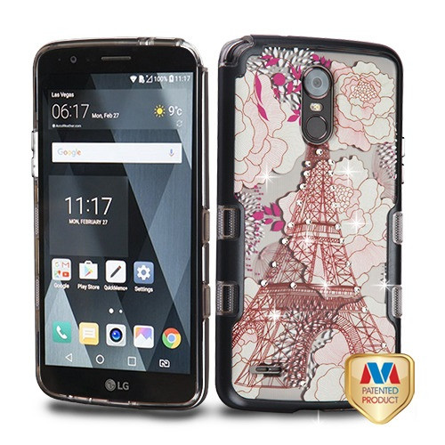 MyBat TUFF Panoview Hybrid Protector Cover for Lg LS777 (Stylo 3) - Metallic Black / Eiffel Tower Diamante