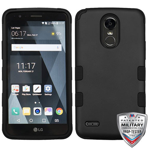 MyBat TUFF Hybrid Protector Cover [Military-Grade Certified] for Lg LS777 (Stylo 3) - Rubberized Black / Black