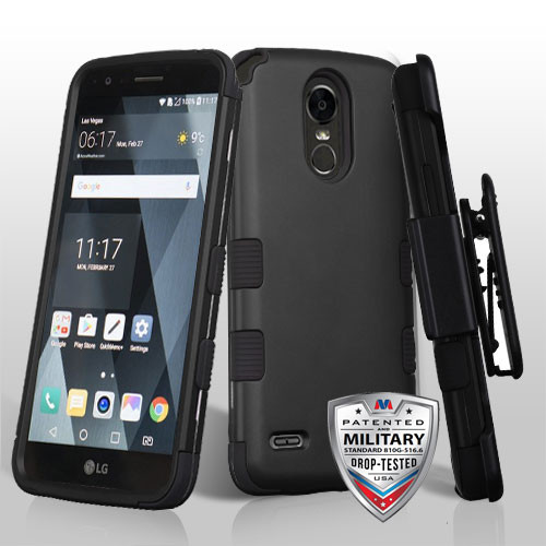MyBat TUFF Hybrid Protector Case [Military-Grade Certified](with Black Horizontal Holster) for Lg LS777 (Stylo 3) - Rubberized Black / Black