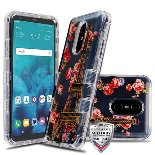 MyBat TUFF Lucid Hybrid Protector Cover [Military-Grade Certified] for Lg Stylo 4 - Transparent Clear / Paris in Full Bloom