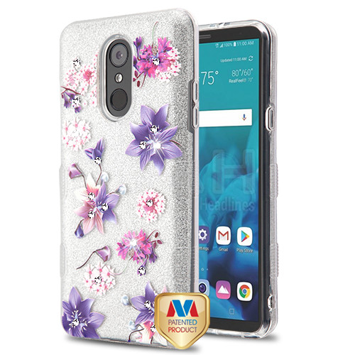 MyBat Full Glitter TUFF Hybrid Protector Cover for Lg Stylo 4 - Purple Stargazers Diamante