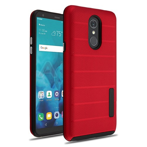MyBat Fusion Protector Cover for Lg Stylo 4 - Red Dots Textured / Black