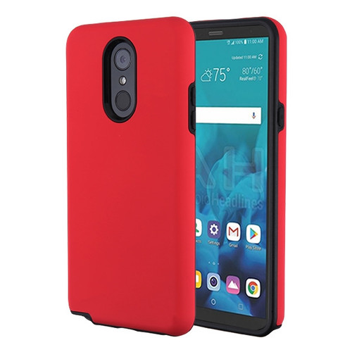 MyBat Fuse Hybrid Protector Cover for Lg Stylo 4 - Rubberized Red / Black