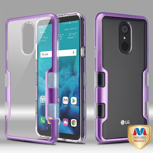 MyBat TUFF Panoview Hybrid Protector Cover for Lg Stylo 4 - Metallic Purple / Transparent Clear