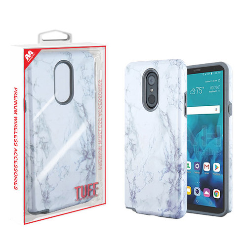 MyBat Fuse Hybrid Protector Cover for Lg Stylo 4 - White Marbling / Iron Gray