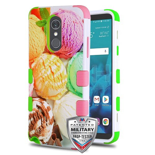 MyBat TUFF Hybrid Protector Cover [Military-Grade Certified] for Lg Stylo 4 - Ice Cream Scoops / Electric Green & Soft Pink