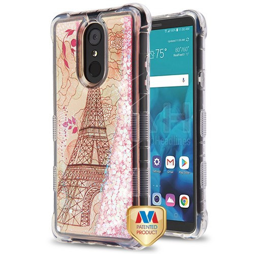 MyBat TUFF Quicksand Glitter Lite Hybrid Protector Cover for Lg Stylo 4 - Eiffel Tower / Pink Hearts