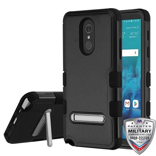 MyBat TUFF Hybrid Protector Cover (with Magnetic Metal Stand)[Military-Grade Certified] for Lg Stylo 4 - Natural Black / Black