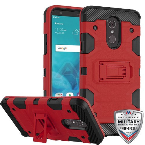 MyBat Storm Tank Hybrid Protector Cover [Military-Grade Certified] for Lg Stylo 4 - Red / Black