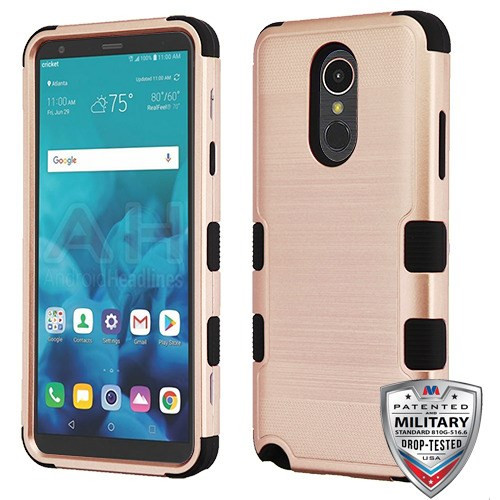 MyBat TUFF Hybrid Protector Cover [Military-Grade Certified] for Lg Stylo 4 - Rose Gold Brushed / Black