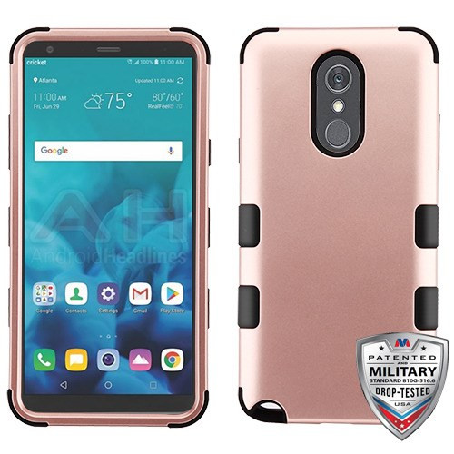 MyBat TUFF Hybrid Protector Cover [Military-Grade Certified] for Lg Stylo 4 - Rose Gold / Black
