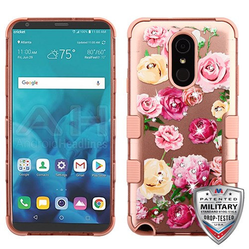 MyBat TUFF Hybrid Protector Cover (with Diamonds)[Military-Grade Certified] for Lg Stylo 4 - Roses (2D Rose Gold) / Rose Gold