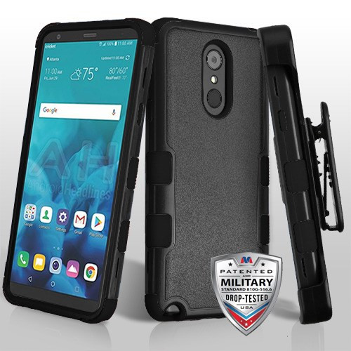 MyBat TUFF Hybrid Protector Case Combo [Military-Grade Certified](with Black Horizontal Holster) for Lg Stylo 4 - Natural Black / Black
