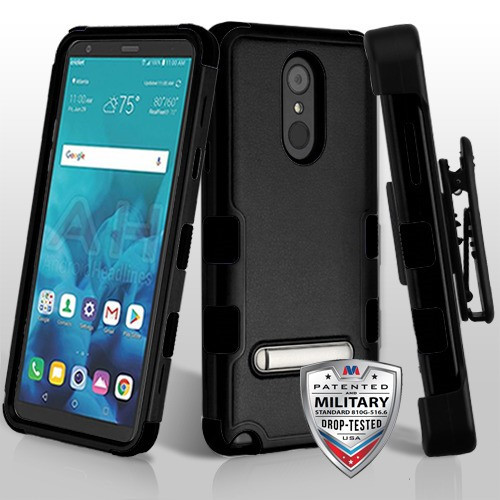 MyBat TUFF Hybrid Protector Case (with Stand)[Military-Grade Certified](with Black Horizontal Holster) for Lg Stylo 4 - Natural Black / Black