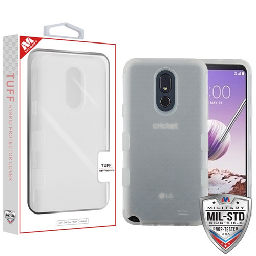 MyBat TUFF Hybrid Protector Cover [Military-Grade Certified] for Lg Stylo 5 - Semi Transparent White Frosted / Transparent White