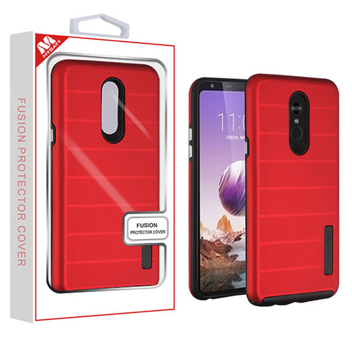MyBat Fusion Protector Cover for Lg Stylo 5 - Red Dots Textured / Black