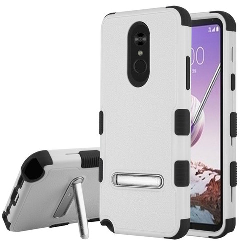 MyBat TUFF Hybrid Protector Cover (with Magnetic Metal Stand)[Military-Grade Certified] for Lg Stylo 5 - Natural Gray / Black