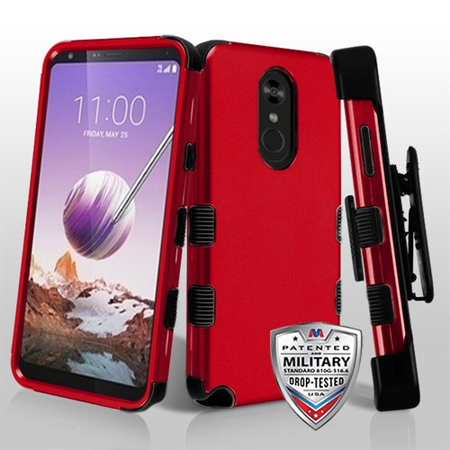MyBat TUFF Hybrid Protector Case [Military-Grade Certified](with Black Horizontal Holster) for Lg Stylo 5 - Titanium Red / Black