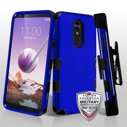 MyBat TUFF Hybrid Protector Case Combo (with Black Horizontal Holster) [Military-Grade Certified] for Lg Stylo 5 - Titanium Dark Blue / Black
