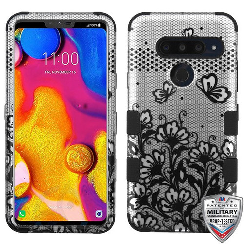 MyBat TUFF Hybrid Protector Cover [Military-Grade Certified] for Lg V40 ThinQ - Black Lace Flowers (2D Silver) / Black